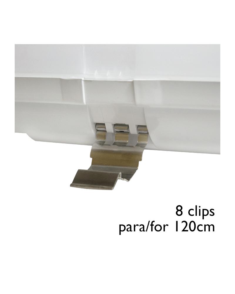 Juego 8 Clips acero INOX de recambio para regleta estanca LED ECO T8 1200mm.