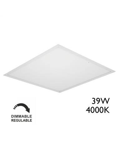 Panel LED de empotrar 39W 60x60cm dimable 1-10V cuerpo de acero +50.000h. IP40