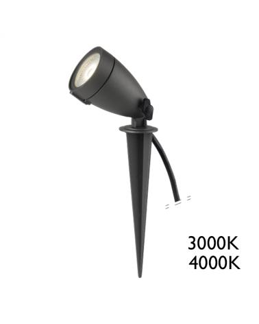 Pincho de exterior LED 6W luz cálida 3000K IP65 50º 398Lm.