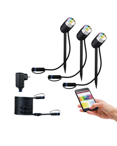 Set de 3 estacas LED RGB IP44 con 5m cable, 4 salidas y transformador