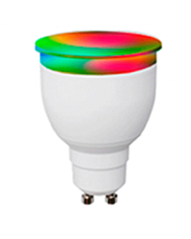 Bombilla Dicroica inteligente 50 mm. LED GU10 RGB & Bluetooth SMART  Regulable 6W 430 Lm.