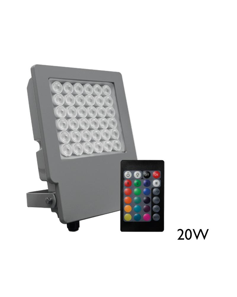 Proyector de exteriores 20W RGB IP65 con mando a distancia