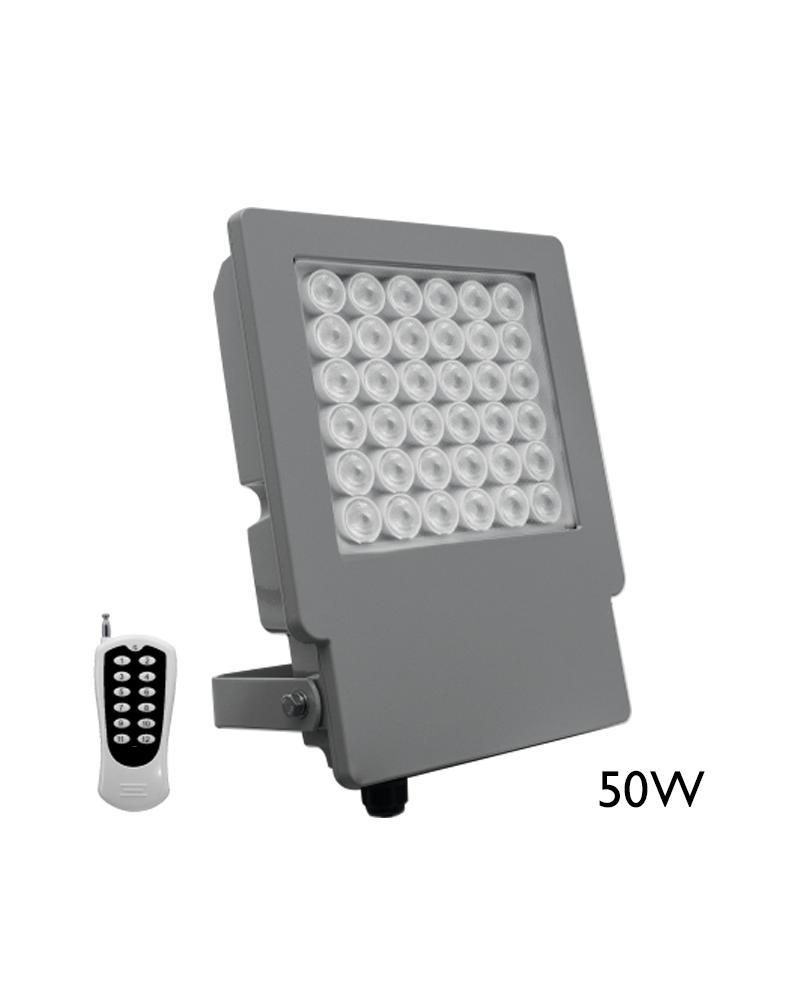 Proyector de exteriores 50W RGB IP65 con mando a distancia