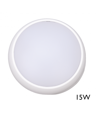 Aplique y plafón de exteriores blanco15W IP54 120º para pared o techo