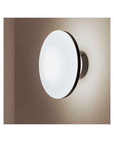 Plafón/Aplique 25cm diseño blanco en cristal opal base y arista acero negro regulable E27