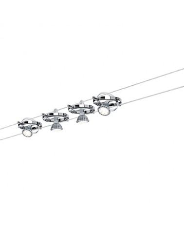 Sistema de cable con circulos  cromado con 4 focos máx. 10 W GU5.3
