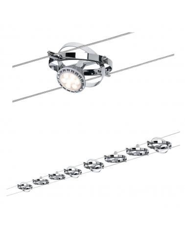 Sistema de cable marco redondo cromado 8 focos 10W GU5.3 12V