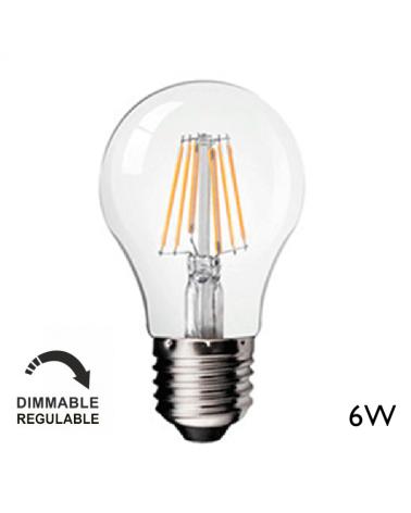 Bombilla Vintage Claro 60 mm. Regulable Standard filamentos LED E27 6W 2700K 700 Lm.