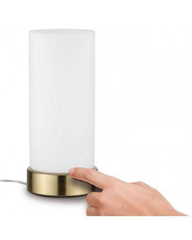 Lampara de sobremesa 24cm graduable con control tactil cristal blanco base cuero E14 20W