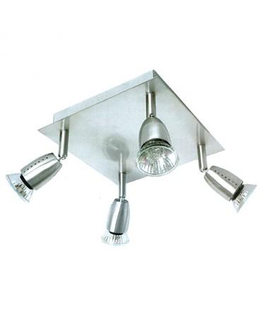 Plafon 4 luces GU10 en niquel satinado