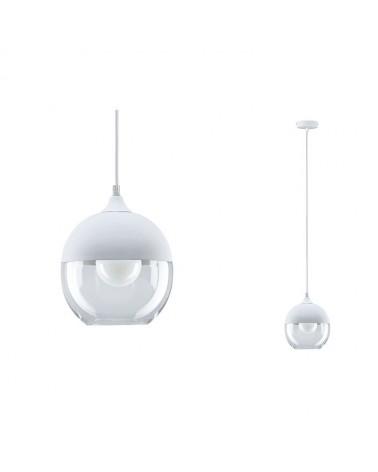 Lampara colgante pantalla en metal en color blanco mate con cristal
