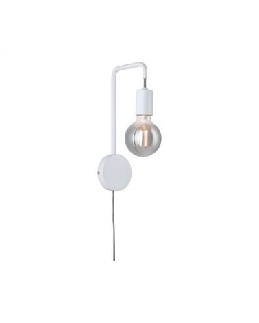 Aplique en metal blanco con soporte circular 40W E27