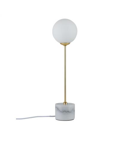 Lámpara de mesa 40cm pantalla esfera cristal con fuste en dorado y base de mármol 10 W G9
