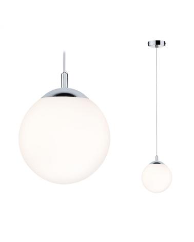 Lámpara colgante esfera blanca cristal niquel 20W E27 IP44