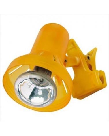 Flexo de pinza 40W plastico naranja 11cm E14 brazo oscilante bombilla incluida