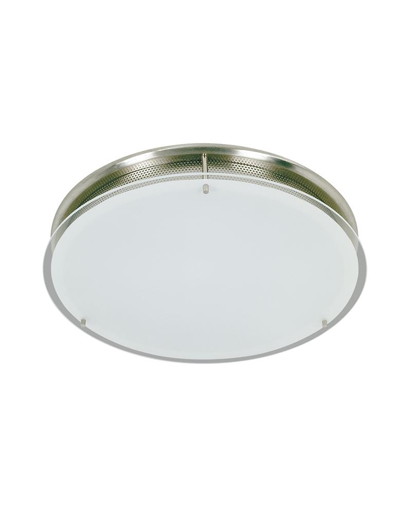Aplique o plafón 27,5cm color cromo con difusor en cristal opal 80W R7S