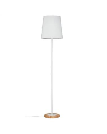 Lámpara de pie 165 20W E27 acabado blanco con pantalla tela y  base de madera