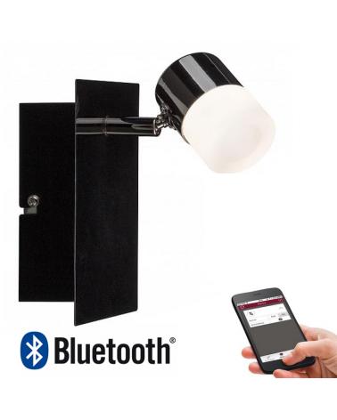 Aplique con difusor en negro brillo LED 600Lm regulable Bluetooth