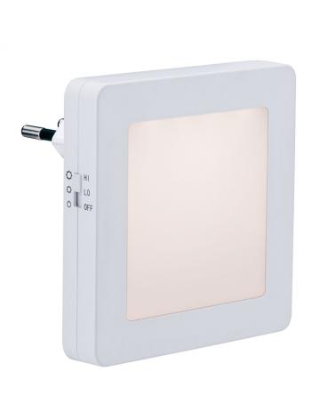 Luz nocturna infantil quitamiedos enchufable blanca cuadrada con sensor de anochecer