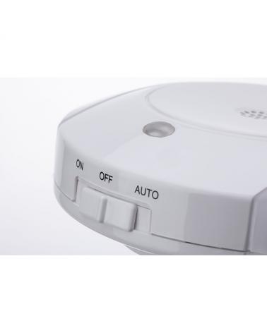 Luz nocturna infantil quitamiedos enchufable blanca redonda con sensor de anochecer y de sonido