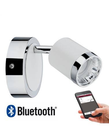 Aplique cromado con difusor en blanco LED 400 Lm regulable Bluetooth