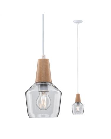 Lámpara de techo 14,5cm campana cristal detalle madera 20W E27