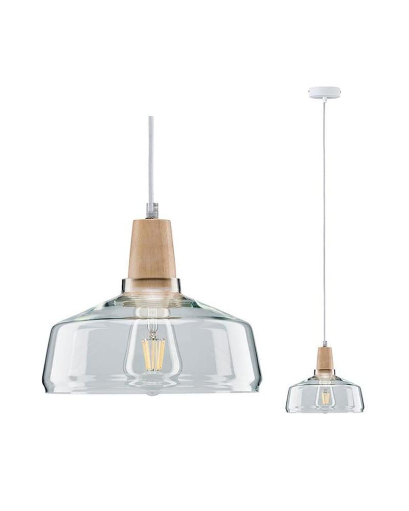 Lámpara de techo 23,5cm campana cristal detalle madera 20W E27