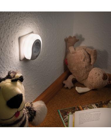 Clavija luz nocturna con infantil quitamiedos nocturna enchufable blanca redonda con sensor de anochecer