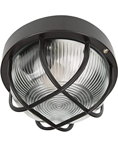 Aplique metal de exterior rejilla negro 60 W E27