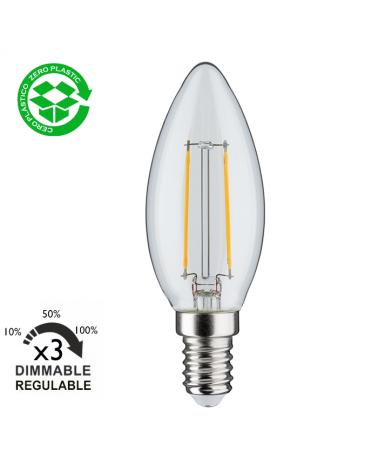 Bombilla vela LED 2.5W E14 230V Regulación en 3 pasos