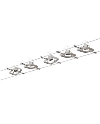 Sistema de cable cromado mate marco cuadrado 5 focos máx. 10 W GU5.3