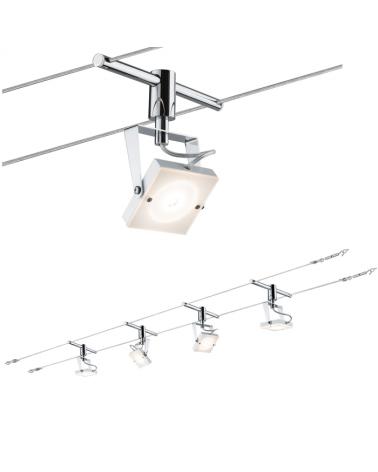 Sistema de cable cromado con LED blancos cuadrados 4x5W