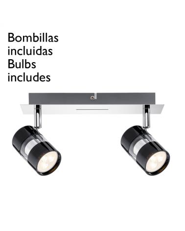 Lámpara de techo con 2 focos negros con base cromo 2x3,5W GU10 bombillas incluidas
