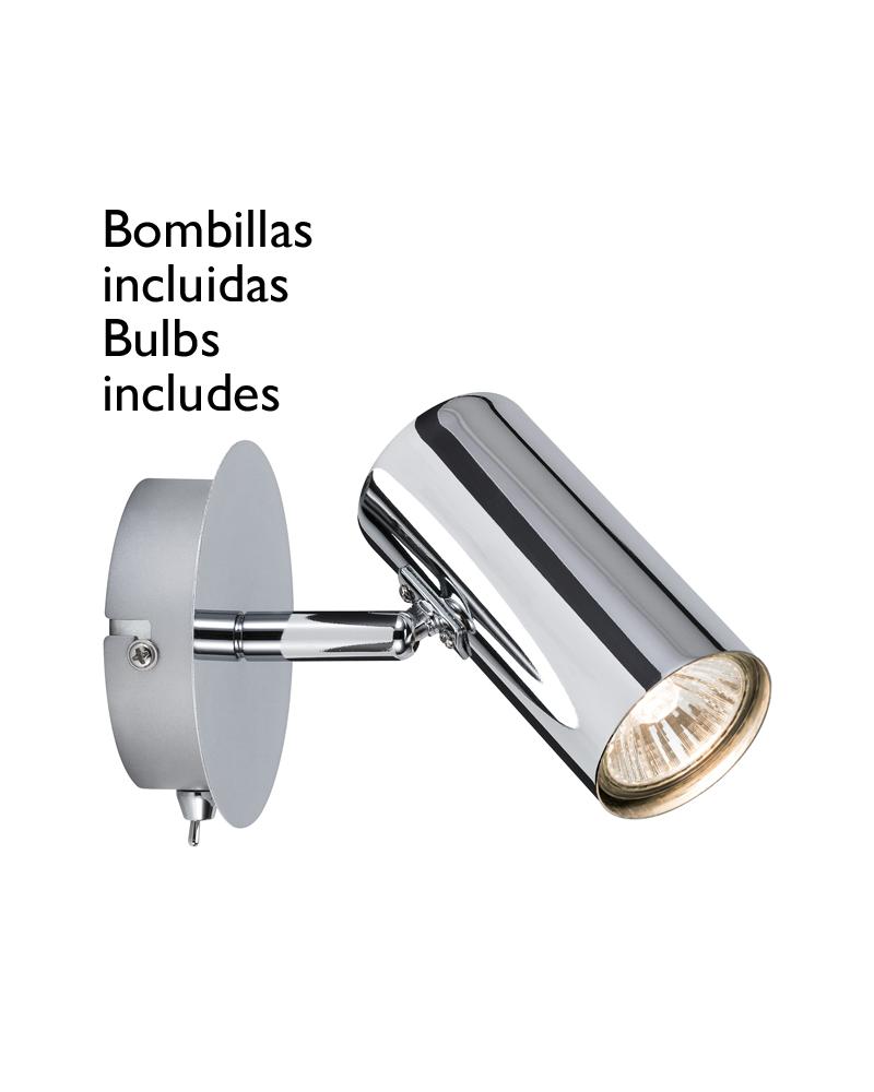 Aplique foco cromo base redonda 1x40W GU10 incluye bombilla