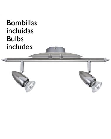 Lampara con focos 2x50WGU10 bala niquel satinado con adorno base forma de hoja oscilante incluye bombillas