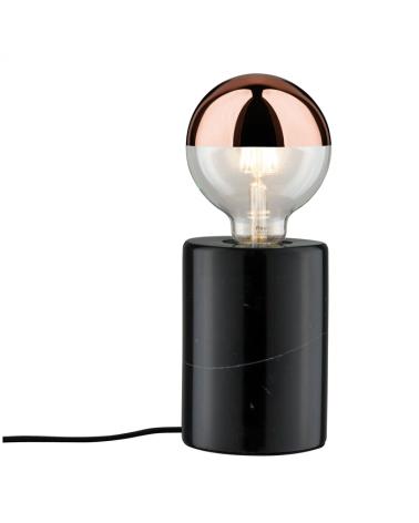 Lámpara de mesa cilindro base mármol negro 20W E27