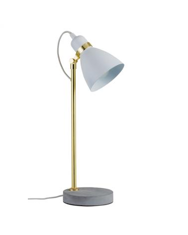 Lámpara de mesa 50cm estilo nórdico 20W E27 acabado gris claro base cemento fuste dorado