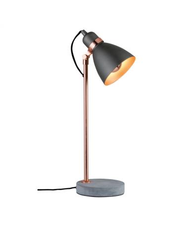 Lámpara de mesa 50cm estilo nórdico 20W E27  acabado gris oscuro base cemento fuste cobre