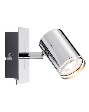 Aplique foco cromo base rectangular 10cm 10W GU10 con interruptor
