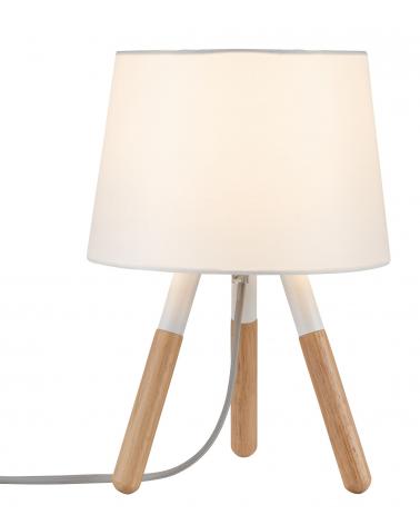 Lámpara de mesa nórdica pantalla blanca con 3 patas de madera 20W E27