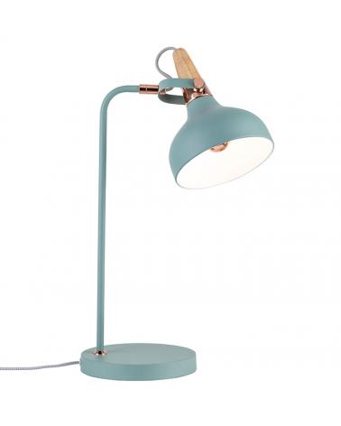 Lámpara sobremesa nórdica turquesa verde con detalle en madera y cobre 20W E14