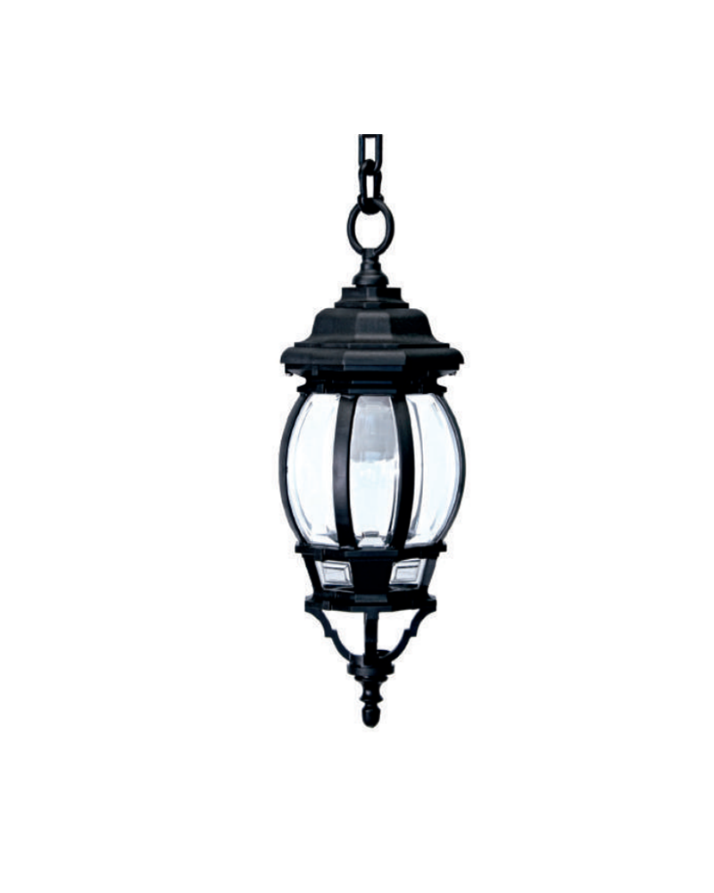 Farol lámpara colgante de exteriores IP44 E27 75x17,50cms, con difusor de policarbonato biselado UV resistente