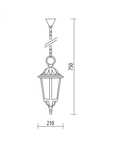 Farol lámpara colgante de exteriores IP44 E27 máx75cms Ø 21cms material resistente a corrosión y UV