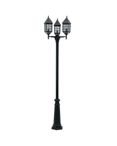 Farola de 3 luces IP44 para 3 bombillasE27 alto 236cms, Ø 48cms, material resistente a corrosión y UV
