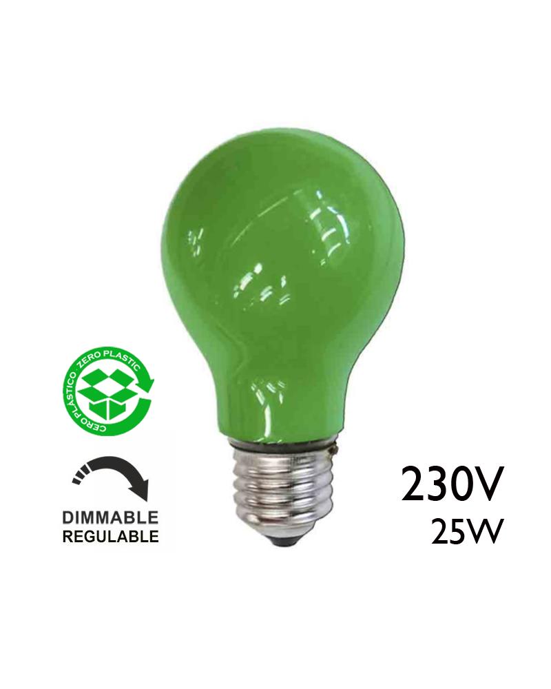 Bombilla incandescente estándar verde 25W E27 230V