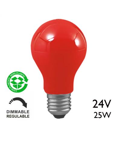Bombilla incandescente estándar roja 25W E27 24V