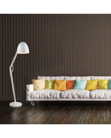 Lampara de pie 60W E27 estilo nórdico pantalla blanca asta plegable madera