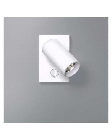 Aplique 4cm cilindro acero liso base cuadrada con interruptor LED 5W 2700K 500Lm regulable