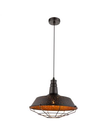 Lámpara de techo 60W E27 industrial color cobre y negro jaula
