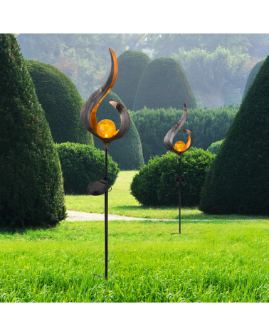 Baliza solar para jardín forma llama con esfera dorada